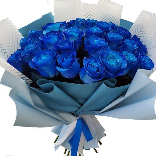 букет 33 сині троянди (фарбовані)