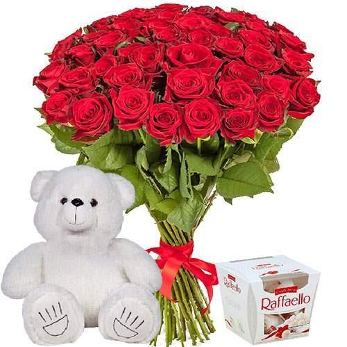 """фото товару 51 троянда, ведмедик і """"Raffaello"""""""