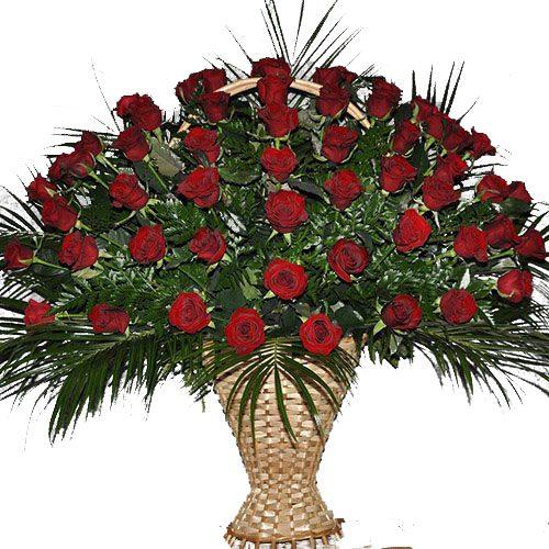товар Живі похоронні квіти троянди в кошику, вазоні