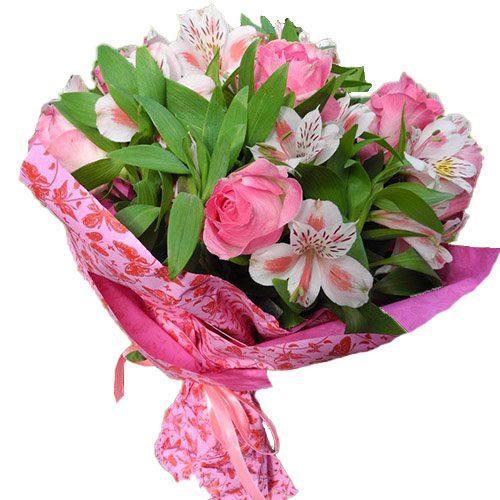 Рожевий колір мікс квітів