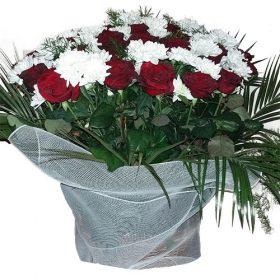 товар Квіти на похорон у кошику