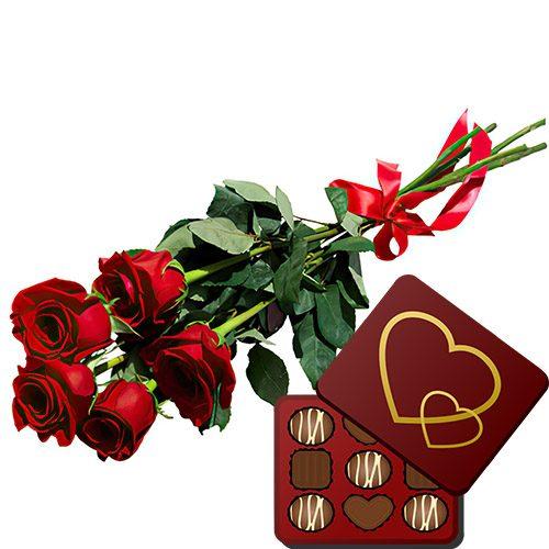 фото 5 червоних троянд із цукерками