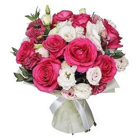 """Букет """"Полуниця з вершками"""" троянди та еустоми"""