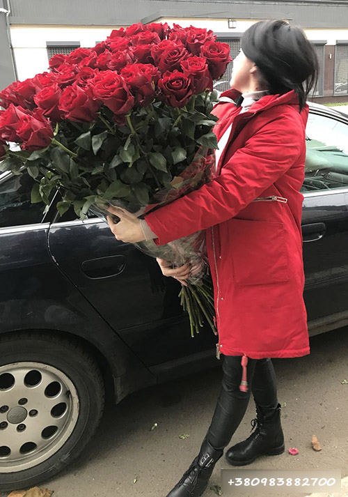 фото 101 червона троянда 1 метр