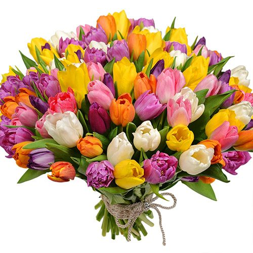 "Букет ""Самоцветы"" (101 тюльпан) фото букета"